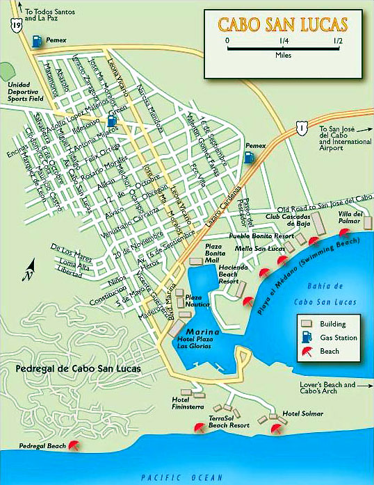 Cabo San Lucas Map, theofficialcaboguide.com Cabo San Lucas Hotel Map on